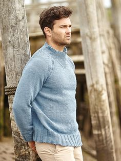 Binham - Knit this simple mens raglan sweater from Rowan Knitting & Crochet Magazine 59. Designed by Sarah Hatton in All Seasons Cotton, it has a sweatshirt style neck detail and would be suitable for the less experienced knitter.
