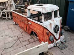 VW Bus Driftwood Storage Bench-Custom