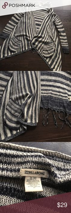 Billabong striped sweater cardigan - Small Billabong striped sweater cardigan - Small. EUC. Super lightweight knit striped navy, grey and cream sweater jacket with pockets. Good for the office or the beach.  ❤️Make an offer! Please remember Poshmark takes 20% 🖤Sorry no trades ❤️I ship quickly! 🖤Please accept your packages on the app as soon as you receive them so that the sellers can be paid.  ❤️Please read all descriptions and note condition before you buy. 🖤Bundle your likes for a…