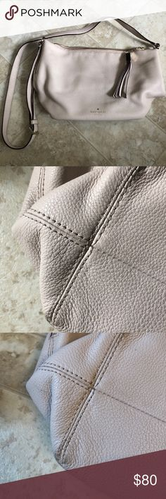 Kate Spade Crossbody Beautiful pebble leather crossbody! Color is more of a blush pink. •interior in EUC •exterior cleaned with Kate spade leather cleaner  *wear shown in pictures *managed to get nail polish of the strap (researching how to get that off 🤦🏼♀️) kate spade Bags Crossbody Bags