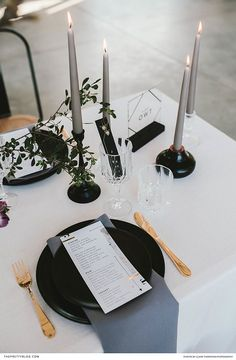 Golden cutlery and flickering candle light added a hint of sparkle to this contemporary table setting, sporting black accents. Wedding Stationery Inspiration, Wedding Inspiration, Wedding Ideas, Wedding Table Settings, Candles, Flickering Candle, Wedding Engagement, Wedding Rings, Wedding Reception