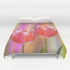 Colourful tête à tête tulips with canvas texture Duvet Cover