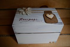 Rustic mason jar recipe Box-3x5. Standard size box with dividers. distressed. handpainted. on Etsy, $32.00