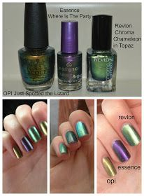 Duo-Chrome Nail Polish: Swatches And Comparison - OPI essence and Revlon