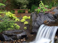 HGTV tours a Georgia garden with a waterfall and elegant stone features.