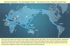 The Human Journey: Migration Routes Map. Please note the entrance into Europe of two groups, one Black and the other White, The first group (the Blacks) migrates up from Africa into the Levant, and from there, spread to North Africa and Southern Europe. Also note another group entering Europe from Central Asia. These are the Dravidan Albinos, originally from India: who left India, migrated to Central Asia, and from there migrated to Europe. Their descendants are the current European.