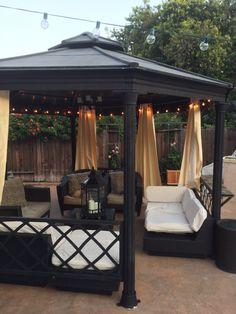 Backyard Gazebo, Small Backyard Patio, Backyard Patio Designs, Outdoor Rooms, Outdoor Living, Outdoor Decor, Backyard Renovations, Outside Patio, Backyard Makeover