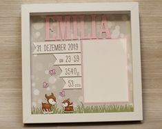 Personalized gift for birth in frame, baby frame, baptism gift, gift for birth, frame for birth - Personalisiertes Geschenk zur Geburt im Rahmen Babyrahmen Baptism Gifts, Christening Gifts, Nursery Pictures, Baby Frame, Ribba Frame, Baby Room Decor, Box Frames, Shadow Box, Etsy