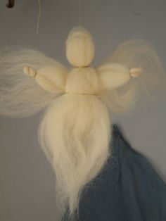 These are good instructions - easy to follow - and make a very sweet wool roving angel (our new christmas tree topper!)