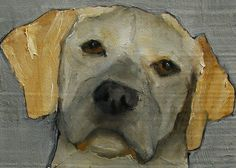 YELLOW Lab DOG PUPPY  Aceo Giclee print from my by artiparti, $4.99