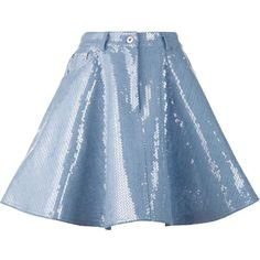 Moschino Sequin Embellished Denim Skirt ($718) ❤ liked on Polyvore featuring skirts, denim skirt, a line button skirt, a line skirt, zip skirt and sequin skirt