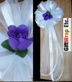 White Church Pew Bows Tulle Decorations with Purple by giftwrapetc, $49.95