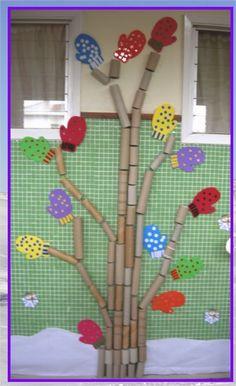 Rbol de invierno para ni os invierno pinterest for Puertas decoradas de navidad trackid sp 006