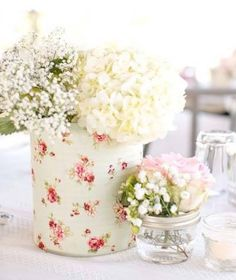 country chic florals tin can with paper wrap Wedding Centerpieces, Wedding Table, Wedding Decorations, Wedding Day, Table Decorations, Wedding Themes, Chic Wedding, Bouquet Champetre, Motifs Roses