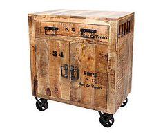 Kist op wielen Manon, naturel, L 80 cm