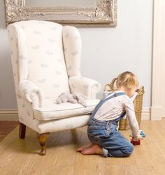 Small But Perfect Children's Chairs; The Wee Elgin in Peony & Sage falling feathers.