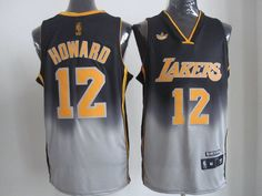 4c77dd06d08 Adidas NBA Los Angeles Lakers 12 Dwight Howard Fadeaway Fashion Swingman  Jersey