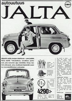Russian auto ads for Finland Microcar, Great Ads, Car Posters, Car Advertising, Car Drawings, Small Cars, Old Cars, Vintage Ads, Retro