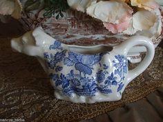 Vintage Blue and White Transferware Charlotte Figural Cow Creamer Pitcher #nancysdailydish #cow #blueandwhite