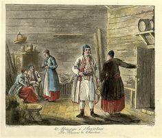 Ranskankielinen kuvataulu Savon rahvaan oloista, 1800-luku.