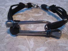 Horseshoe Nail and Leather Band Bracelet by CompletelyCrafty, $10.00