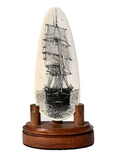 Scrimshaw Gallery is home to the most complete selection of scrimshaw, nautical art, knives, and other fine collectibles. Ivory Elephant, Nautical Artwork, Engraving Ideas, Lost Art, Wooden Boats, Tall Ships, Ancient Art, Art Forms, Horn