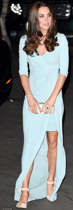 The Duchess of Cambridge pictured in a full length powder blue evening gown at tonight's awards ceremony