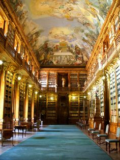 Strahov Monastery Philosophical Hall, Prague, Czech Rep. One of the most beautiful libraries in the world.