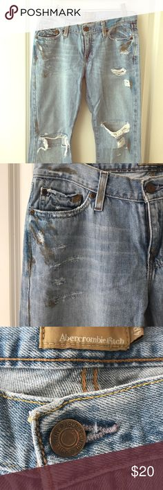 Abercrombie jeans. Distressed look with gold and blue paint splatters. Jeans Boot Cut