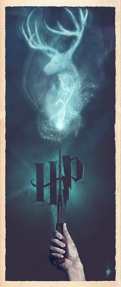 "Harry Potter Harry Potter alternative poster by Ajay Naran - ""Harry Potter Expecto Patronum"" by Ajay Naran: A part a series of Harry Potter 'wand' prints I'm producing, this one displays Harry casting a Patronus charm. Harry Potter World, Theme Harry Potter, Mundo Harry Potter, Harry Potter Love, Harry Potter Fandom, Harry Potter Poster, Harry Potter Images, Harry Potter Lock Screen, Magic Wand Harry Potter"