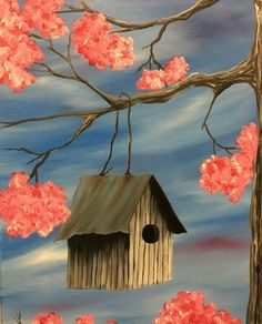 Birdhouse in a pink flowering tree, beginner painting idea. Where's the bird? Need to paint that, too!