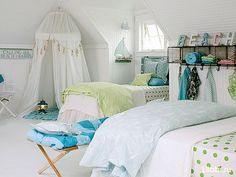 """Today we present you Cute Beach Style Kid's Bedroom Design Ideas"""". These kids bedroom design are ideal and for any kids bedroom even if you don't live by the beach. Attic Bedroom Kids, Attic Rooms, Girls Bedroom, Room Girls, Childs Bedroom, Coastal Bedrooms, Coastal Living, Bedroom Retreat, Bedroom Decor"""