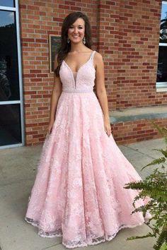 Pink lace V-neck modest handmade graduation dress,prom dress