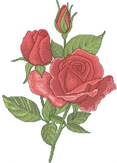Red rose cross stitch free embroidery design 12 - Cross stitch machine embroidery - Machine embroidery community