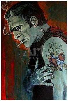Monster Tattoo, Frankenstein Tattoo, Bride Of Frankenstein, Frankenstein Quotes, Stretched Canvas Prints, Canvas Art Prints, Fine Art Prints, Monster Art, Monster Squad
