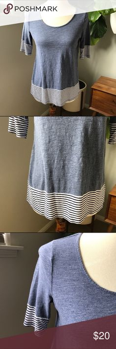 """Maison Jules t-shirt size small with stripe trim Maison Jules t-shirt size small with stripe trim. Perfect for any chill day. Pair with jeans or leggings. Slight high low. Bust 16.5"""". Front length 23"""". Back length 26"""". Bundle and save 🎈😉👍 Maison Jules Tops Tees - Short Sleeve"""