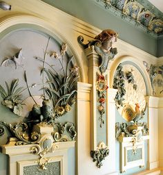 Deep, colorful plaster wall reliefs. Lush ornamentation. Rundale Palace