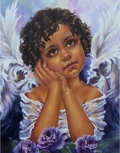 angel art,  angel wall decor,  cherub print, cherub painting, angel decor, cherub wall hanging, canvas art, portrait painting