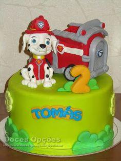 Doces Opções: Bolo de aniversário com o Marshall da Patrulha Pat... Paw Patrol, Desserts, Birthday Cakes, Sweets, Tailgate Desserts, Deserts, Postres, Dessert, Plated Desserts