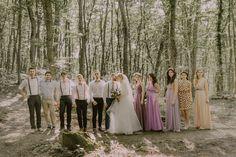 Wedding, wedding day, groom, bride, bridesmaid, photography, photoshoot, forest, purple, pink quartz, lavanda, retro