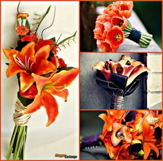 Here are some beautiful bouquet ideas for those biker chicks who want that little pop of Harley orange on their big day! #bikerlove #bikerwedding #chopperexchange #thebigday #bouquet