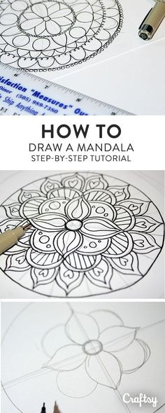 How to Draw a Mandala (With FREE Coloring Pages!) Drawing and coloring mandalas is a meditative form of creating artwork that's easier than it looks. Learn how to draw a mandala on Craftsy! Mandala Doodle, Mandala Art Lesson, Mandala Dots, Mandala Pattern, Mandala How To Draw, Doodle Doodle, Doodle Borders, Mandalas Painting, Mandalas Drawing