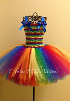 Rainbow tutu dress  This would be so fun for a birthday party outfit!! Love the colors!  facebook.com/tutuswithattitude12