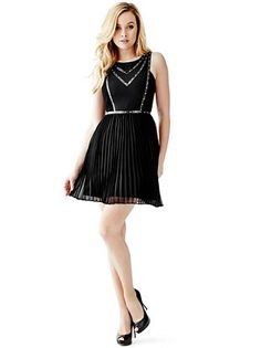 Pleated Fit-and-Flare Dress at Guess