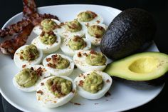 Avocado Deviled Eggs with Bacon  #justeatrealfood #cavemangourmet