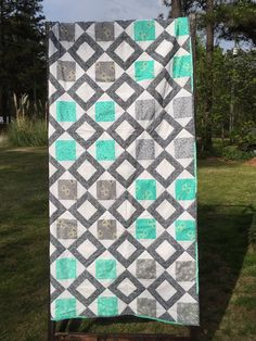 Teal and Grey Quilt- Twin Bed Quilt - Custom Quilt - Teen Quilt - Youth Quilt - College Quilt - Keepsake Quilt - Child Quilt - Mother's Day