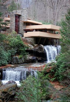 Fallingwater - Frank Lloyd WrightFallingwater or Kaufmann Residence is a house designed by American architect Frank Lloyd Wright in 1935 in rural southwestern Pennsylvania, 50 miles southeast of Pittsburgh.   Love this one!