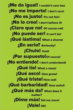 Here are 15 Spanish Learning Hacks I used to become Fluent Fast! Learn how to speak everyday, conversational Spanish now. Here are 15 Spanish Learning Hacks I used to become Fluent Fast! Learn how to speak everyday, conversational Spanish now. Spanish Grammar, English Vocabulary Words, Spanish English, English Phrases, Teaching Spanish, Spanish Slang Words, Spanish Activities, Common Phrases In Spanish, Spanish Idioms