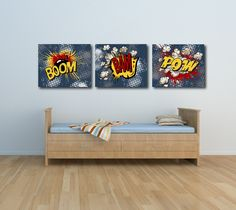 BOOM,BAM,POW Custom Designed Canvas Art. $120.00, via Etsy.