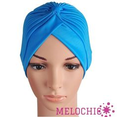 WOMEN'S CHEMO HAIR LOSS HEADBAND HEADWRAP BLUE TURBAN HAT